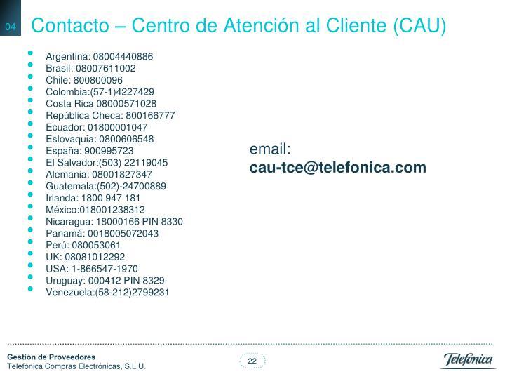 Contacto – Centro de Atención al Cliente (CAU)