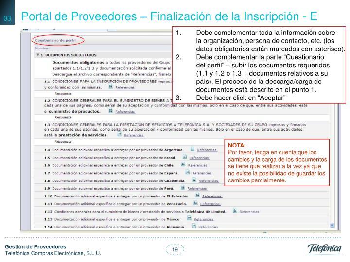Portal de Proveedores – Finalización de la Inscripción - E