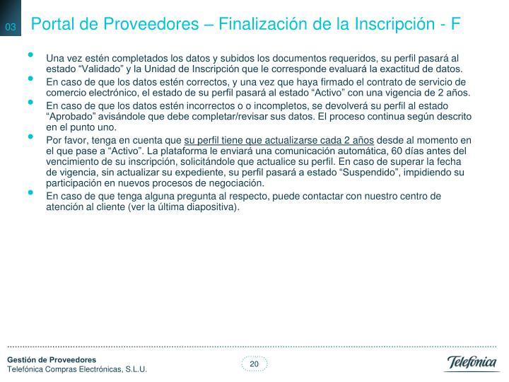 Portal de Proveedores – Finalización de la Inscripción - F