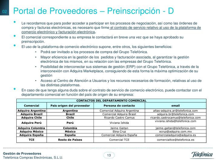 Portal de Proveedores – Preinscripción - D