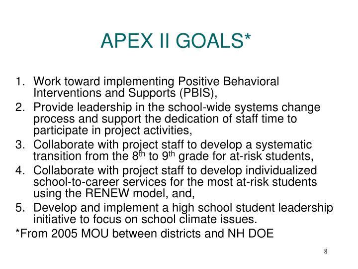 APEX II GOALS*