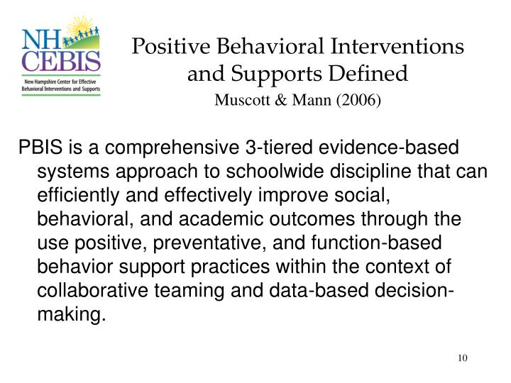 Positive Behavioral Interventions and Supports Defined