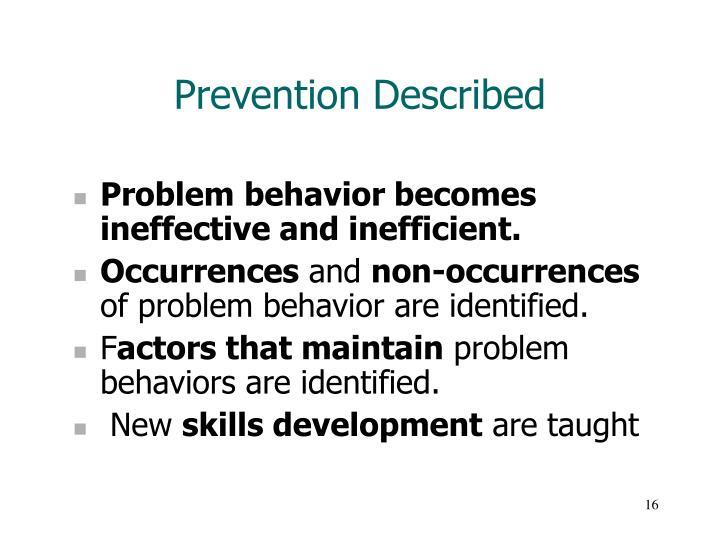 Prevention Described