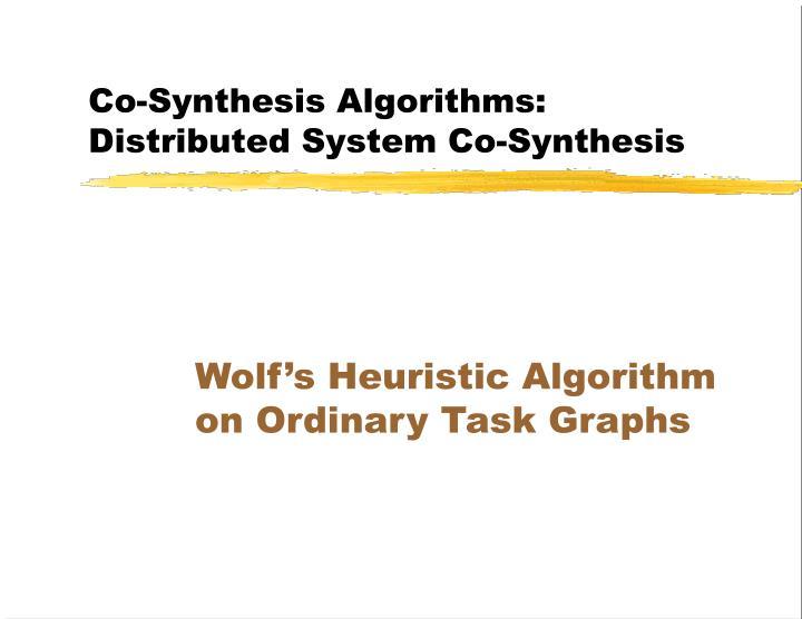Co-Synthesis Algorithms: