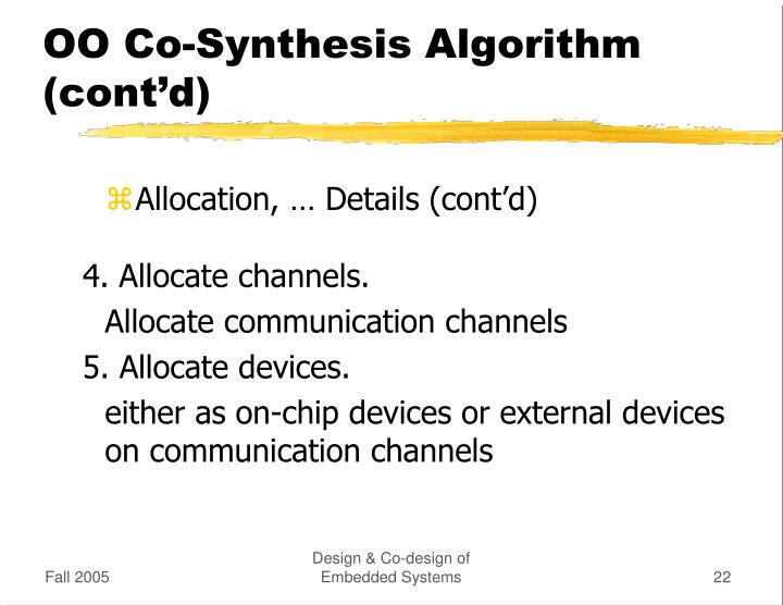 OO Co-Synthesis Algorithm (cont'd)