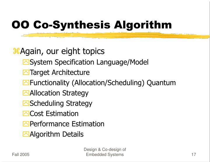 OO Co-Synthesis Algorithm