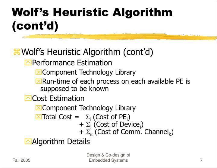 Wolf's Heuristic Algorithm (cont'd)