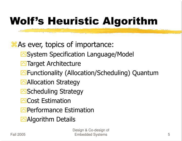 Wolf's Heuristic Algorithm