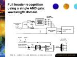 full header recognition using a single and gate wavelength domain
