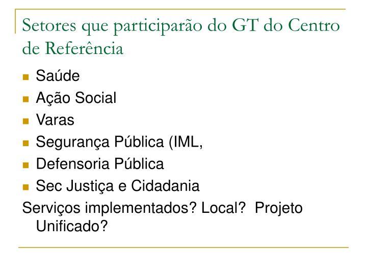Setores que participarão do GT do Centro de Referência