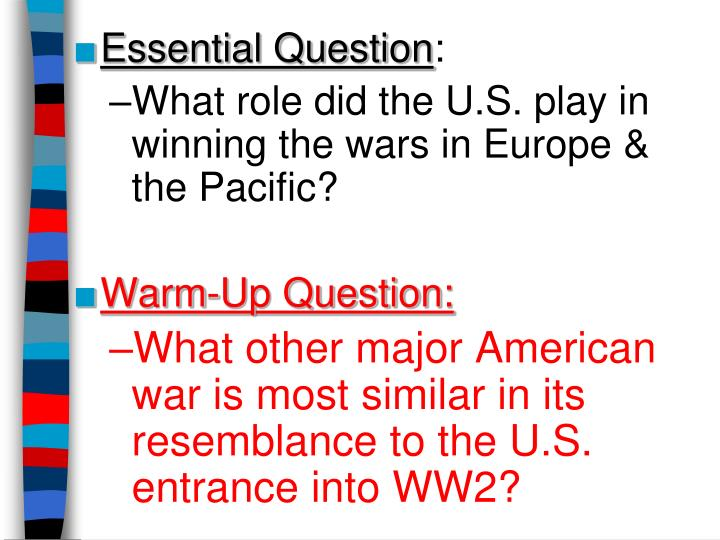 the question of what prompted americas entry into world war ii Get an answer for 'what were the causes of us entry into world war ii' and find homework help for other history questions war of 1848: american.