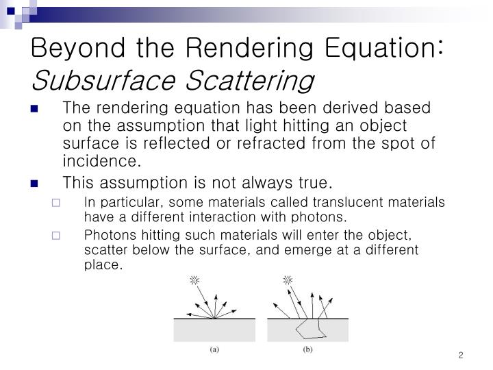 Beyond the rendering equation subsurface scattering