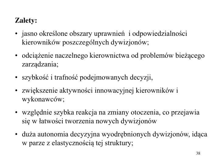 Zalety: