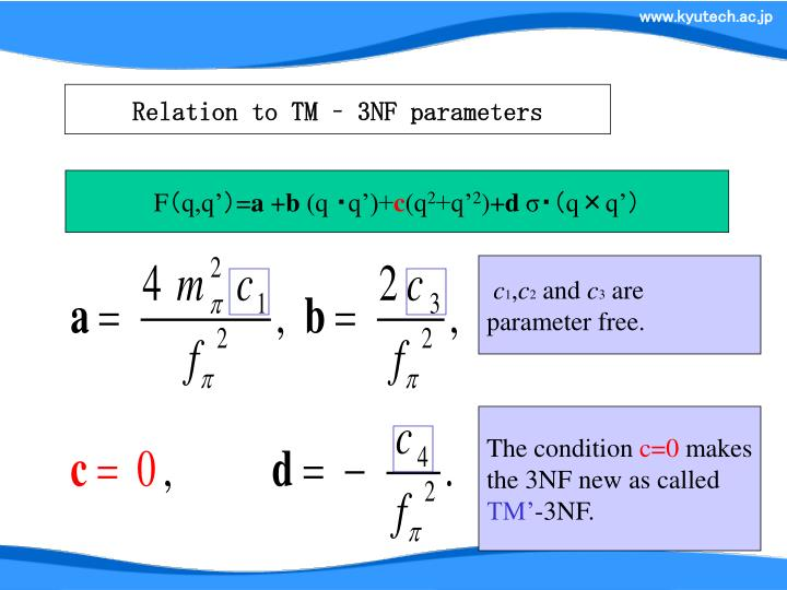 Relation to TM – 3NF parameters