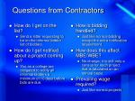 questions from contractors