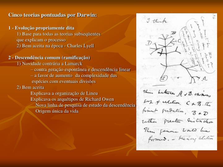 Cinco teorias pontuadas por Darwin: