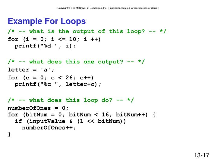 Example For Loops
