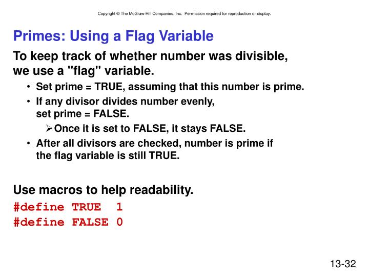 Primes: Using a Flag Variable