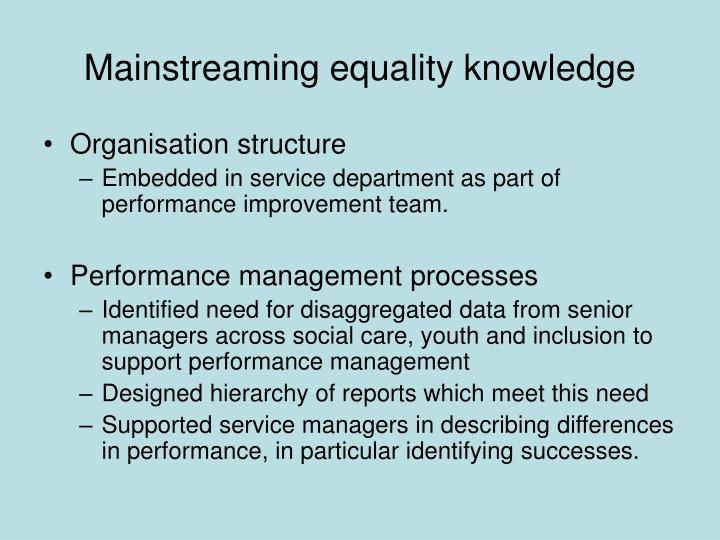 Mainstreaming equality knowledge
