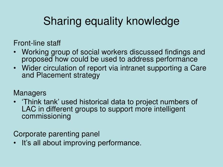 Sharing equality knowledge