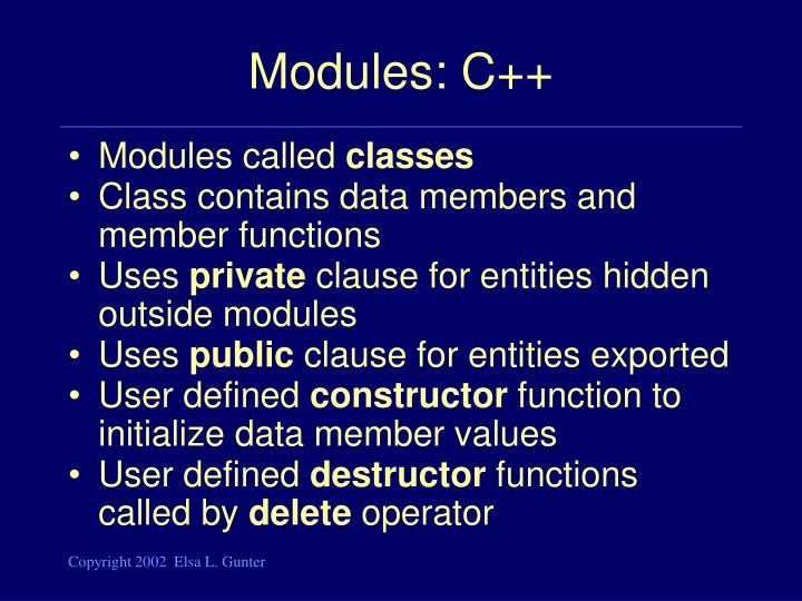 Modules: C++
