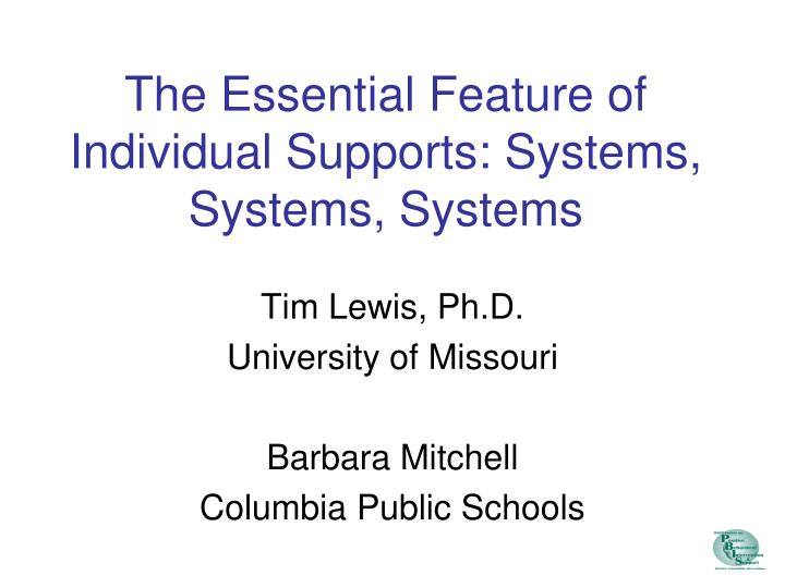 the essential feature of individual supports systems systems systems n.