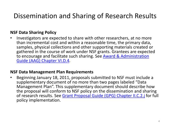 Dissemination and Sharing of Research Results