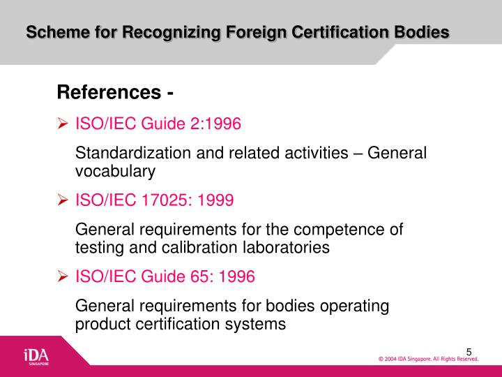 Scheme for Recognizing Foreign Certification Bodies