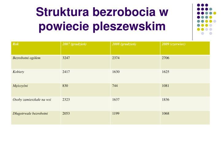 Struktura bezrobocia w powiecie pleszewskim