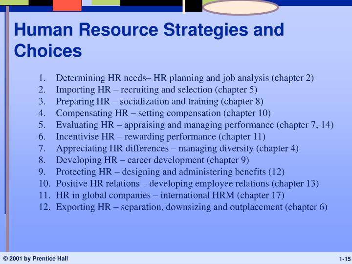 Human Resource Strategies and Choices