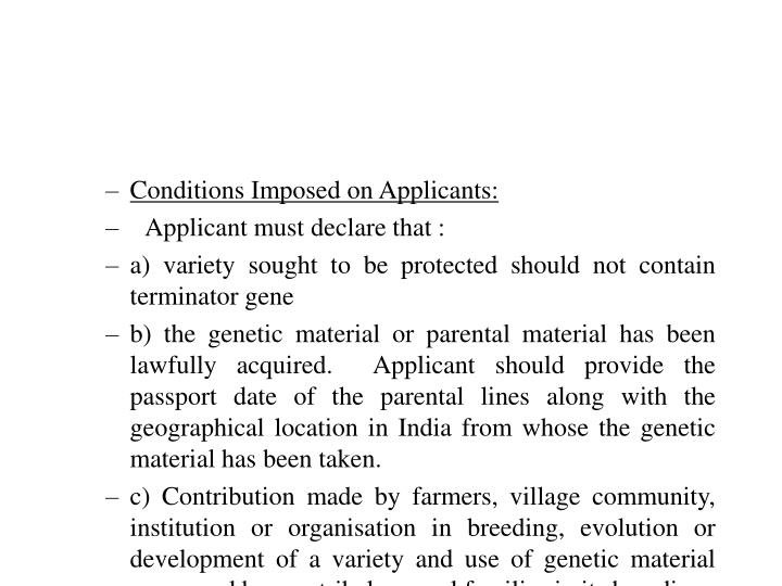 Conditions Imposed on Applicants: