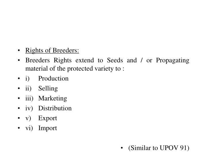 Rights of Breeders: