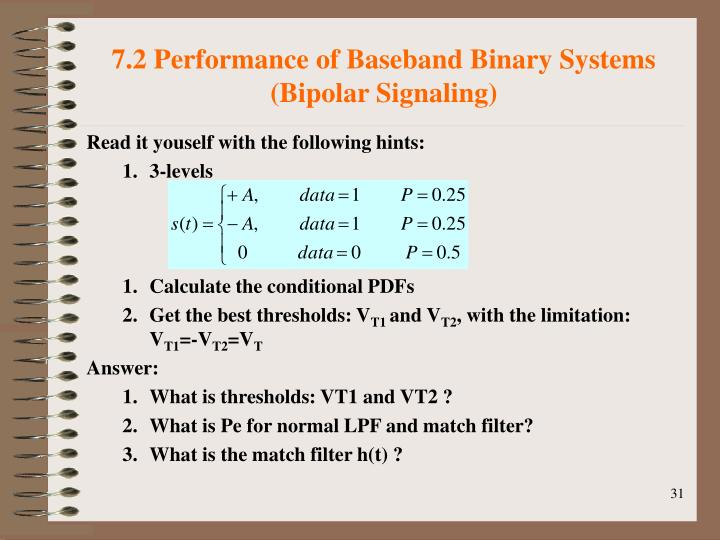 7.2 Performance of Baseband Binary Systems (Bipolar Signaling)