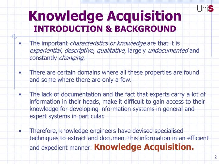 Knowledge acquisition introduction background