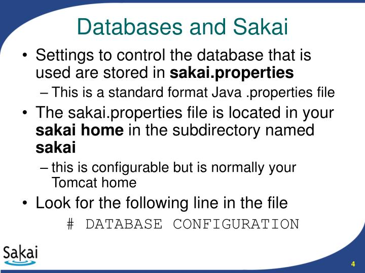 Settings to control the database that is used are stored in