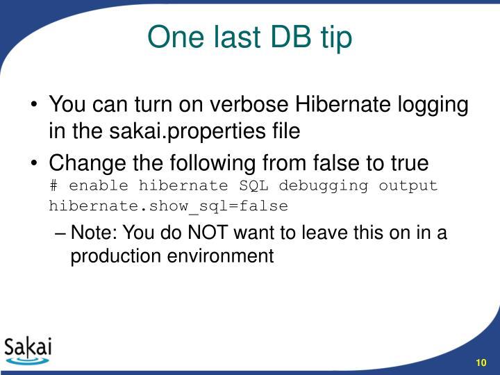 You can turn on verbose Hibernate logging in the sakai.properties file