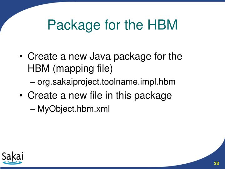Create a new Java package for the HBM (mapping file)