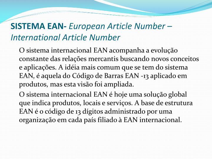 SISTEMA EAN-