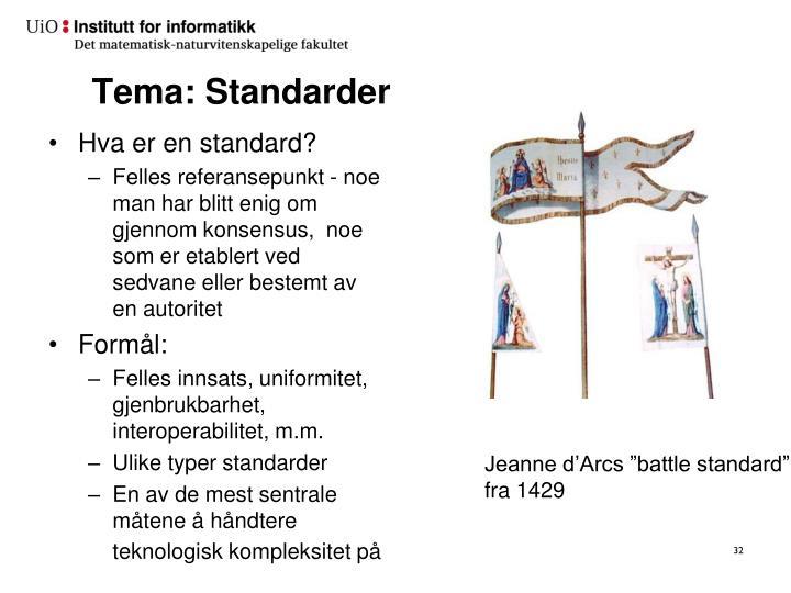 Tema: Standarder