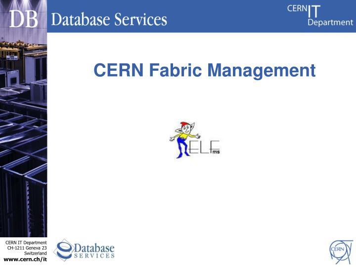 CERN Fabric Management