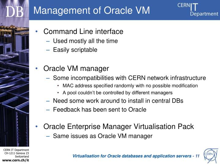Management of Oracle VM