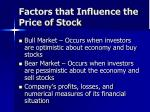 factors that influence the price of stock