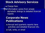 stock advisory services