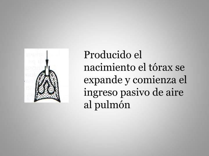 Producido el nacimiento el tórax se expande y comienza el ingreso pasivo de aire al pulmón
