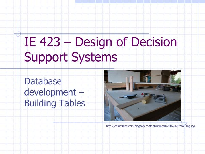 ie 423 design of decision support systems n.