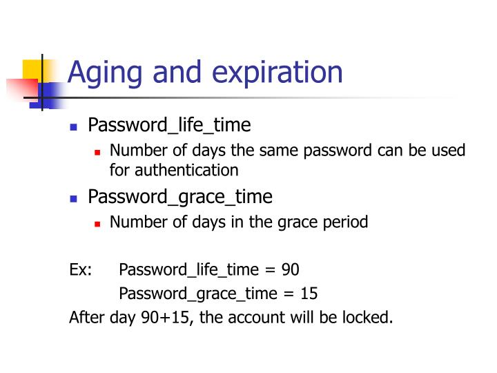 Aging and expiration
