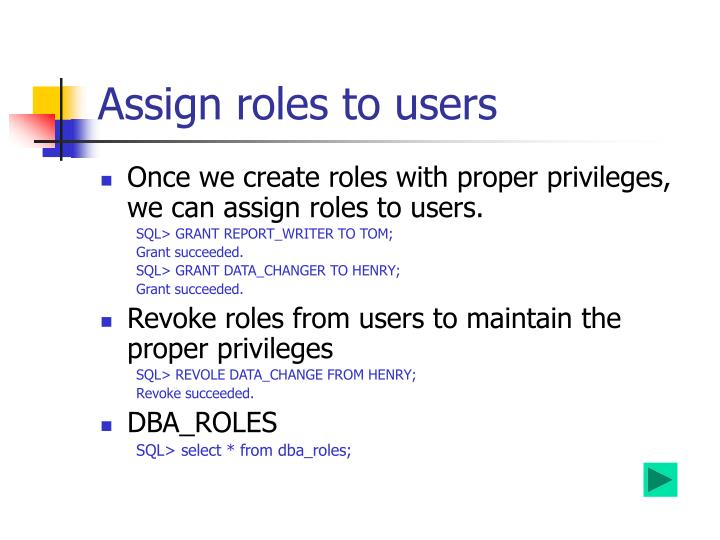 Assign roles to users