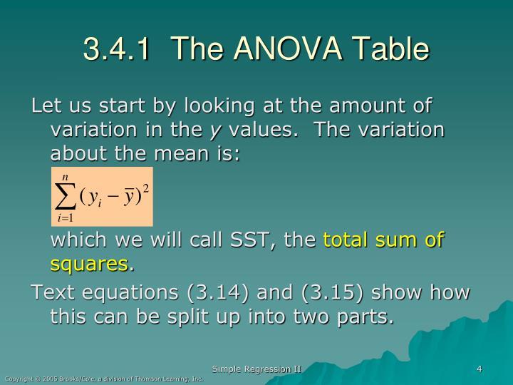 3.4.1  The ANOVA Table