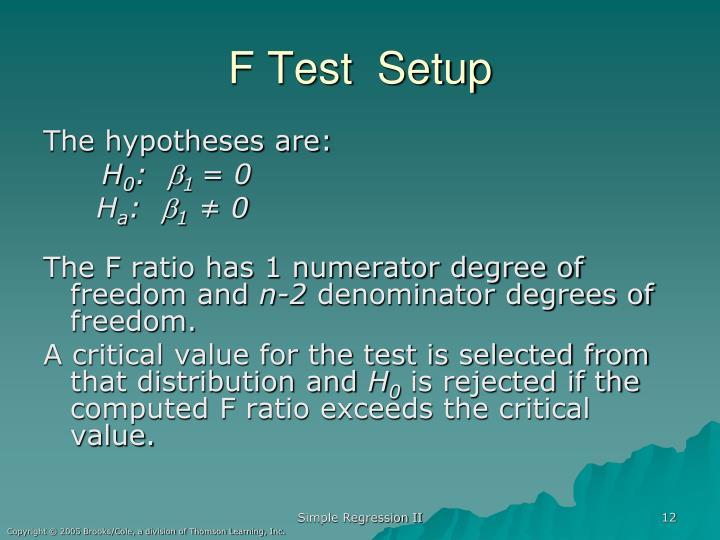F Test  Setup