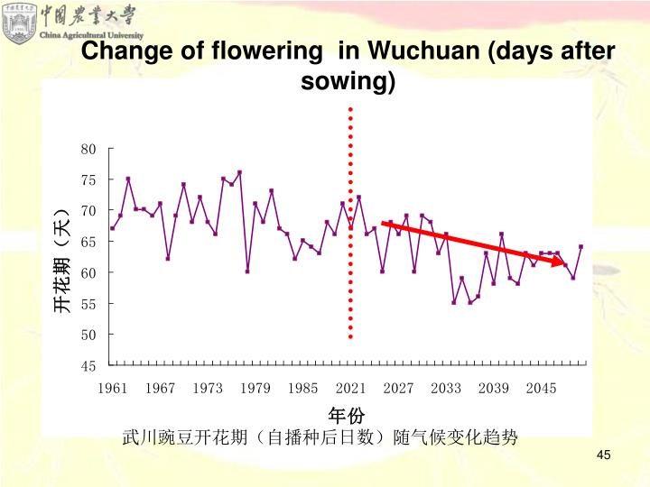 Change of flowering  in Wuchuan (days after sowing)